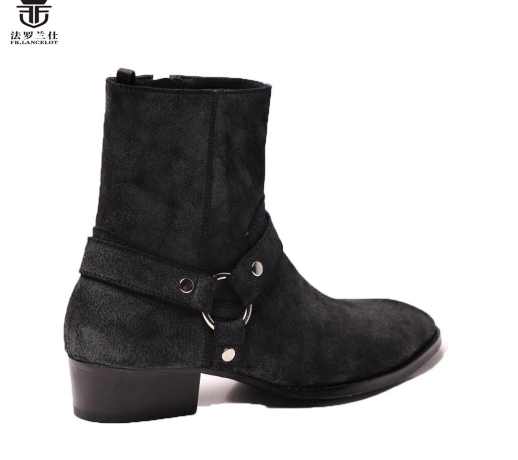 2020 im alten Stil Männer Stiefel schwarz Velourlederstiefel Metallringe echten Leder Ankle Booties hoch oben Reißverschluss Männer Stiefel