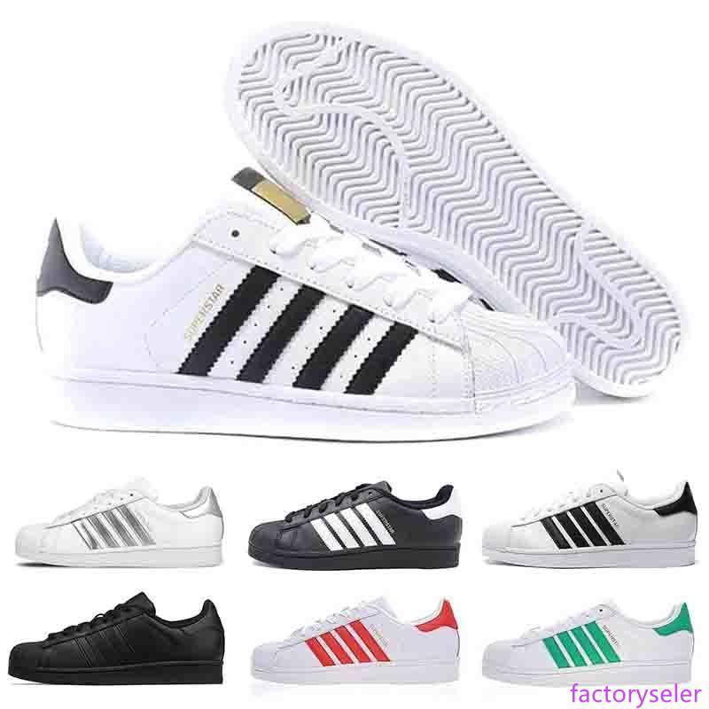 Chaussures pas cher Designer Filles Garçons meilleurs vêtements pour hommes Superstars chaussures des femmes appartements en cuir triple rouge blanc noir des années 80 Super Star chaussures de sport