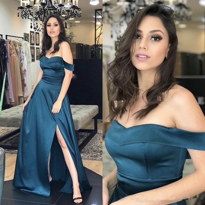 Simple 2021 Evening Dresses Long Side Split Off The Shoulder A Line Arabic Formal Prom Gowns With Sweep Train