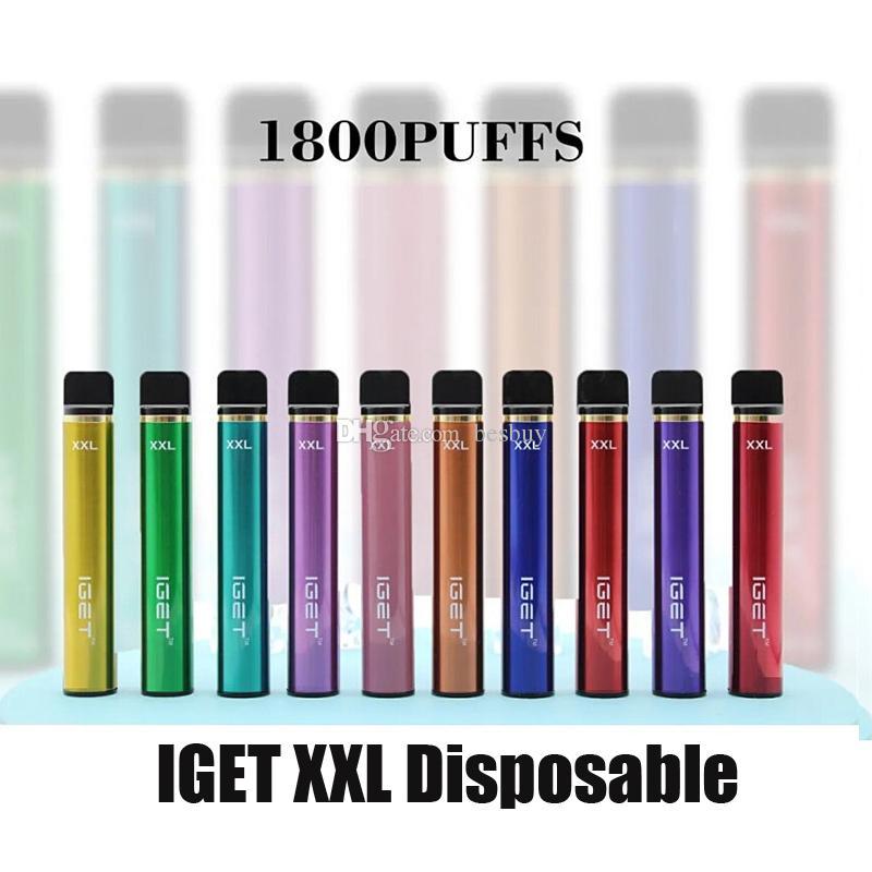 100% originale IGET XXL sigarette monouso Sigarette per dispositivi POD Kit 1800 sbuffi 950mAh 7ml Penna per bastone di Vape preziosa 7ml autentico