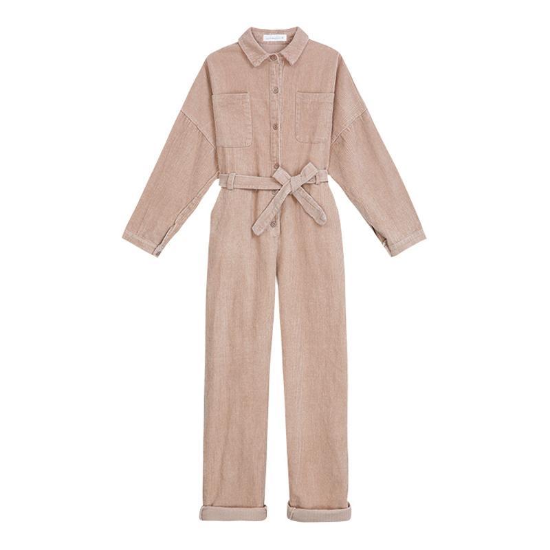 PERHAPS U women brown khaki black corduroy jumpsuit turn down collar long sleeve button pocket casual solid sash autumn J0041 T200107