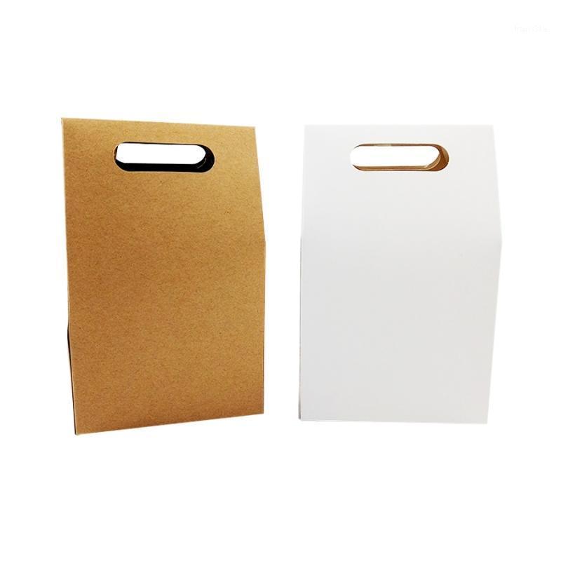 40 pçs / lote biscoitos de presente decoração papel kraft doces caixa de embalagem com punho 10 * 6 * 6cm biscoitos pacote de pacote de casamento favores1