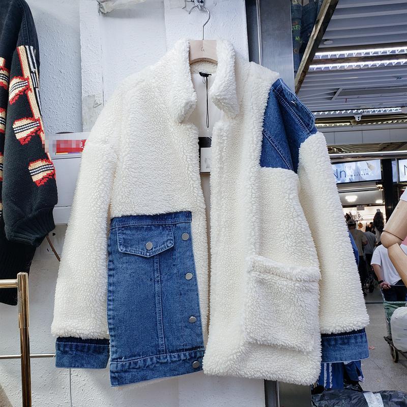 2020 Inverno New Denim costura Overcoat perder toda Matching de curto Quente Brasão de algodão Lamb lã Coats fêmeas grossos casacos de lã