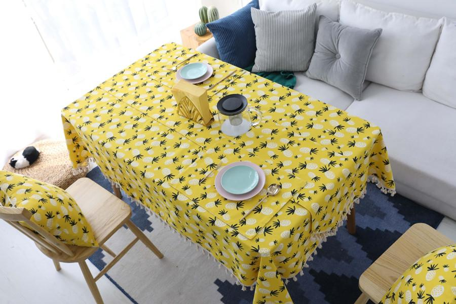 Nordic Cotton And Linen Table Cloth Contracted Art Yellow Pineapple Tablecloth Rectangular Bright color Tea Tablecloth Fashion Print