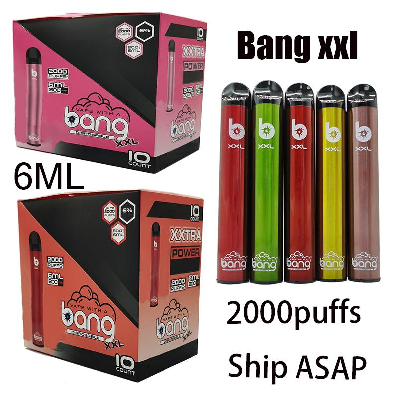 Bang xxl Tek Vape Kartuşları Tek Vape Kalem Cihaz Bang xxtra 800mAh Pil instock İyi Kalite Vapes Starter kit 2000puffs