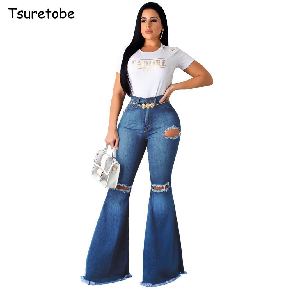 Tsuretobe Moda Denim Kadınlar Vintage Yüksek Bel Flare Jeans Casual Bell-Bottoms Pant Boot Cut Pantolon femal 201.012 Flare Pantolon Ripped