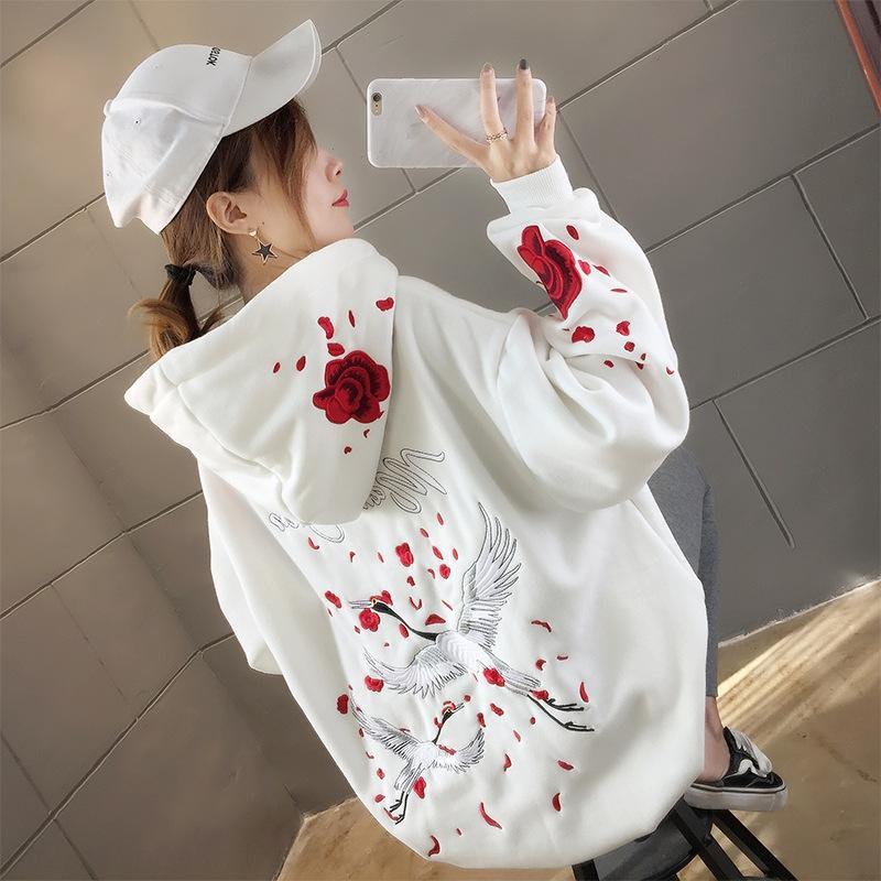 Y4gQX Pullover Frauen mit Kapuze 2020 gestickten trendy ins Super beliebten Pullover coatKorean Stil loser Herbstfrauen langer Hülsenmantel dünn Co
