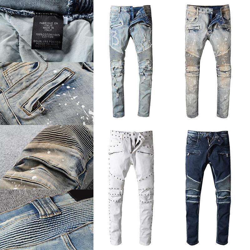 جودة عالية رجل تصميم جينز بالأسى دراجة نارية السائق جينز روك نحيل انفجرت هول شريطية العلامة التجارية الشهيرة الدينيم السراويل