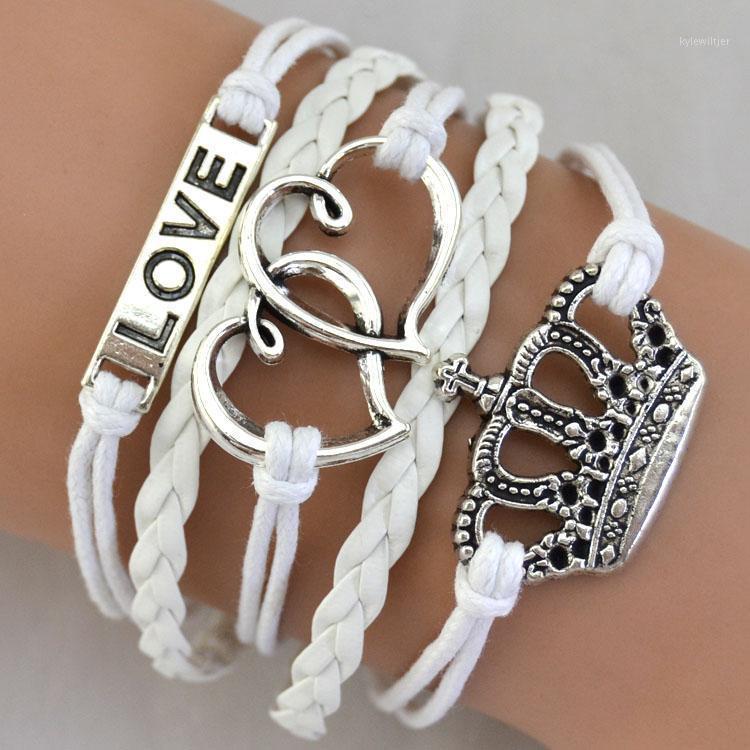 Браслеты очарования продают моду ювелирные изделия Дружба бесконечности любовь серебряная ручная крона корона морской веревкой1
