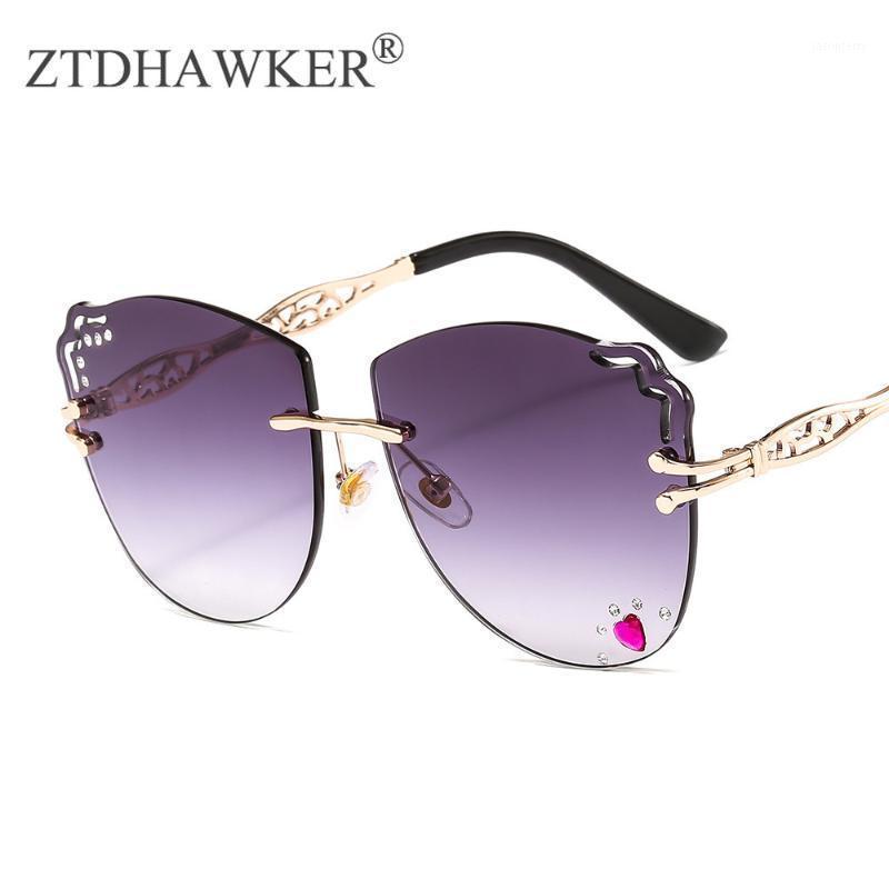 De Alta Qualidade Mulheres Moda Óculos De Sol New Frameless Ondulado Óculos Amor Diamantes Feminino Personality Glasses1
