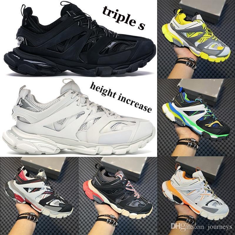 Горячие мужчины Женщины Повседневная Обувь Тройная S 3,0 Высота Увеличение платформы Обувь Свечение в темном бегуне Розовые синие кроссовки Тренеры США 6-12
