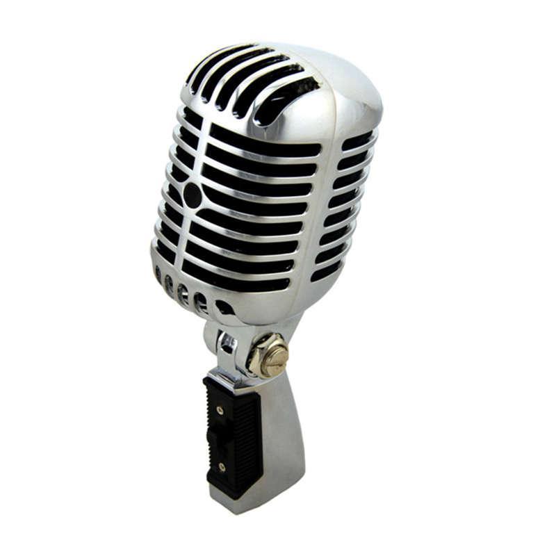 Microfone clássico vintage com fio profissional de boa qualidade Dinâmico Moving Bobina Mike Deluxe Metal Vocal Old Style KTV Mic Mike