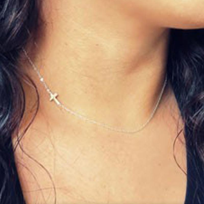 Cross Pendant Necklace Fashion Jewelry Women Plated Gold New Clavicle Alloy Female Religious Retro Necklaces 1 2zs K2B