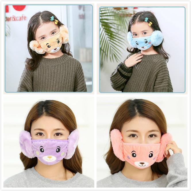 키즈 귀여운 2 in 1 귀 보호 입 마스크 동물 곰 디자인 입 마스크 겨울 얼굴 마스크 아이들과 성인을위한 방진 입 - 머플