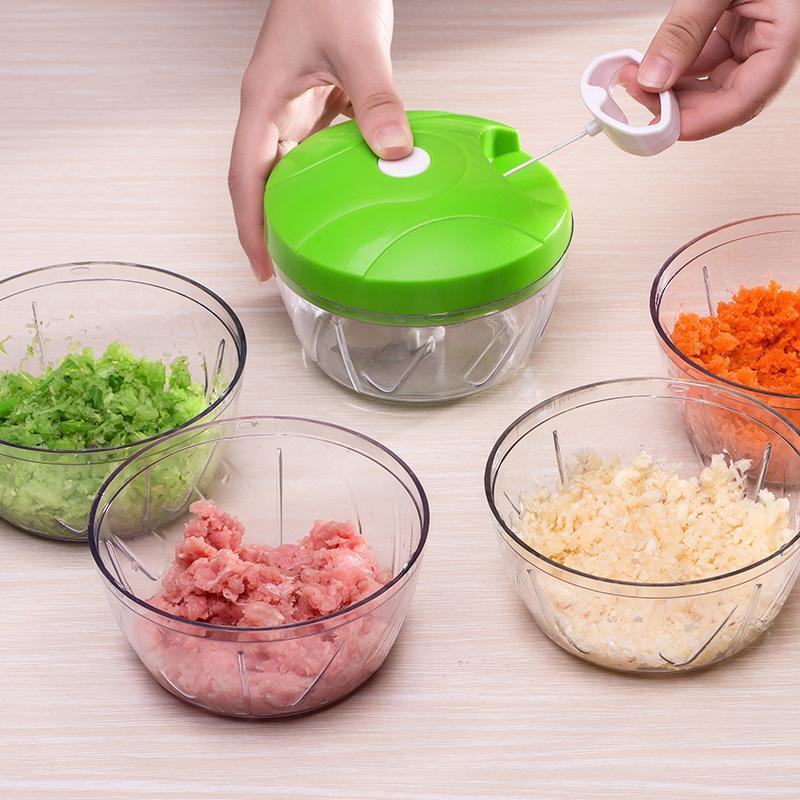 500 ملليلتر دليل الثوم الصحافة حبل الغذاء اليد المروحية المعالج النهار التقطيع سلاسل صانع الثوم البصل القطاعة القاطع مطبخ أداة W-00672