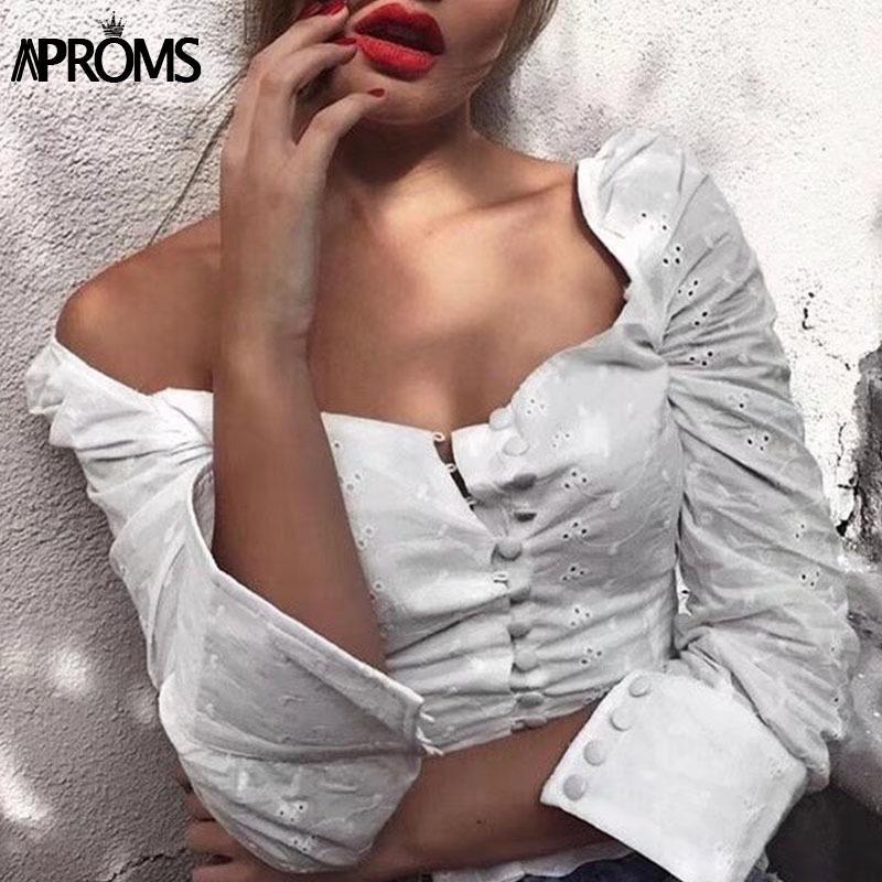 Практики сексуальные квадратные шеи с длинным рукавом кружева вязание крючком блуза рубашка женщины кнопка вниз белые урожая топы летние высокие улицы Blusas 2020 Y200623