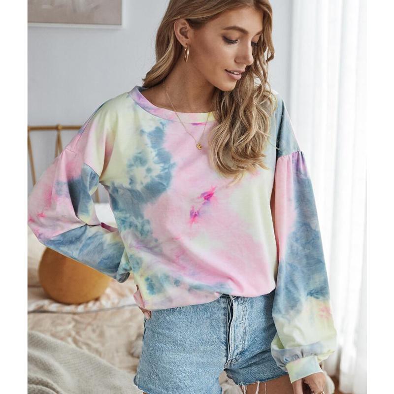 T-shirt das mulheres 2021 outono womens camiseta multicolor casual manga longa redonda colarinho moletom solto impresso tops tingindo oversize