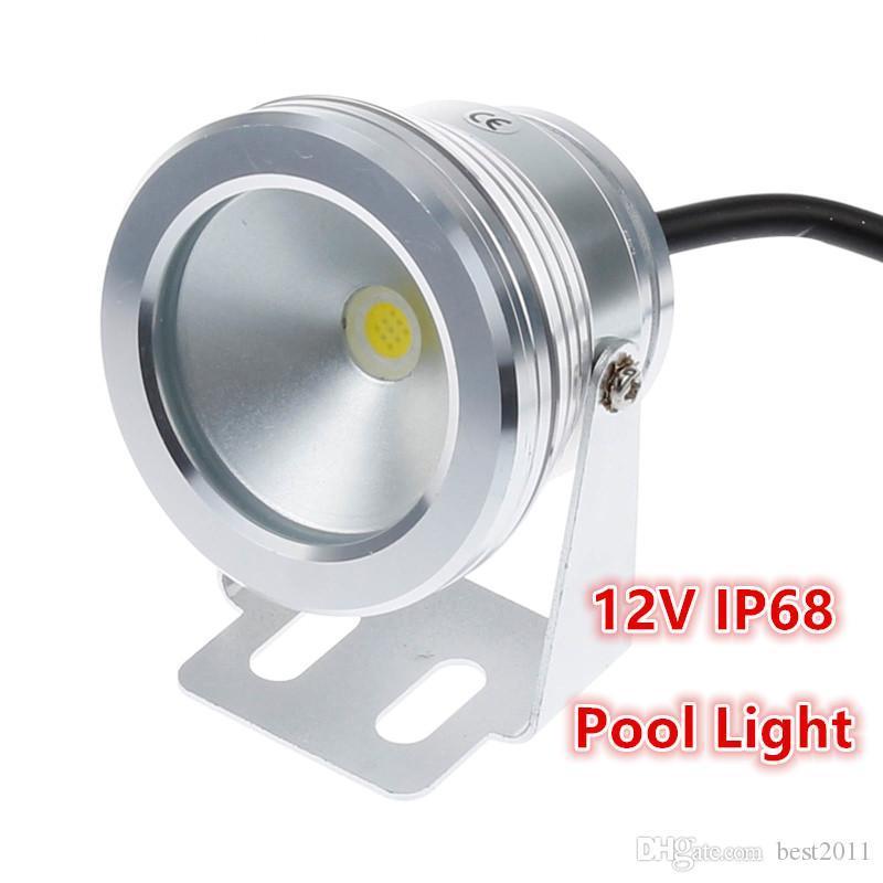 Warm 10W DC 12V ha condotto la luce subacquea bianco / bianco impermeabile IP68 Fontana lampada dello stagno argento corpo di copertura