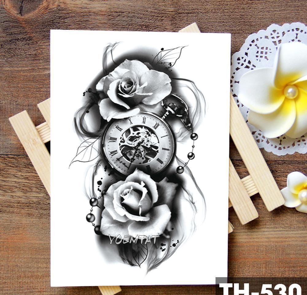 Sahte Su Geçirmez Kule Vücut Geçici Kafatası Sticker Ailesi Akrep Sanat Zaman Geçici Saat Kol Dövmeler Rose Dövme Tatoo Tattoos Che Sqczh