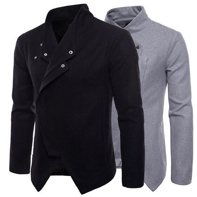 Nova Chegada Casaco Masculino Slim Fit Alta Qualidade Mens Outono Inverno Roupas Homem Stand Collor Collor Botão Botão Quente Pure Color Coats