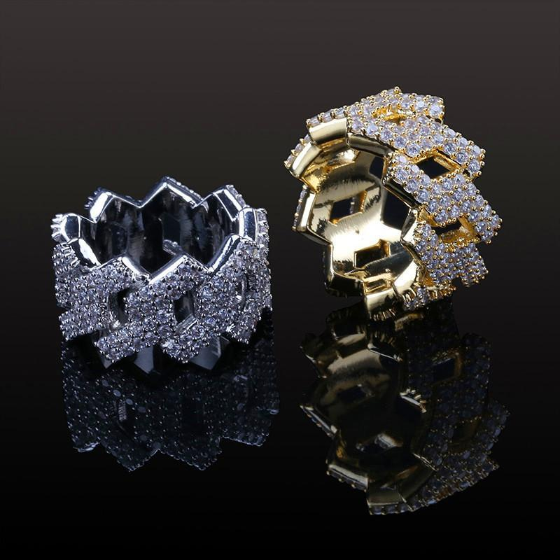 New Fashion Diamond Ring Men Hip Hop Jewelry Bling Stone Iced Out Anelli in oro hip-hop placcato oro 18 carati