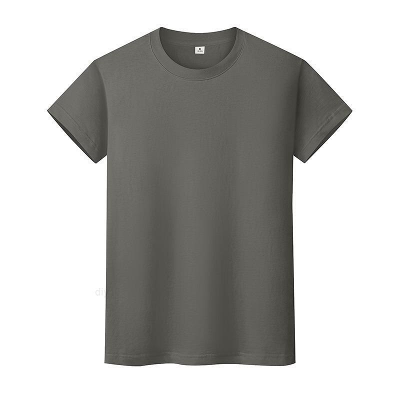 Новая круглая шея сплошная цветная футболка летняя рубашка с хлопковым дном с короткими рукавами мужские и женские половины рукава I67QI