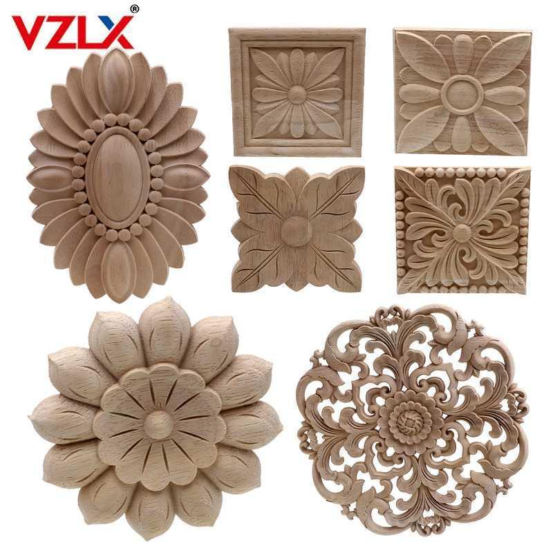 Marco de la esquina de la esquina tallada de madera sin pintar vintage para el marco de la pared del mueble de la pared Decorativo de madera Decorativo Miniatura Craft1