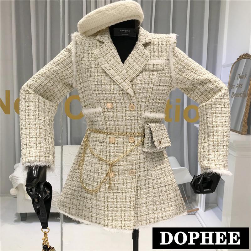 2020 Yeni Sonbahar Altın Konu Ekose Suit Ceket Kadın Çentikli Kruvaze Püskül Trim Ince Tweed Ceket Ücretsiz Kemer Ile Bagx1016
