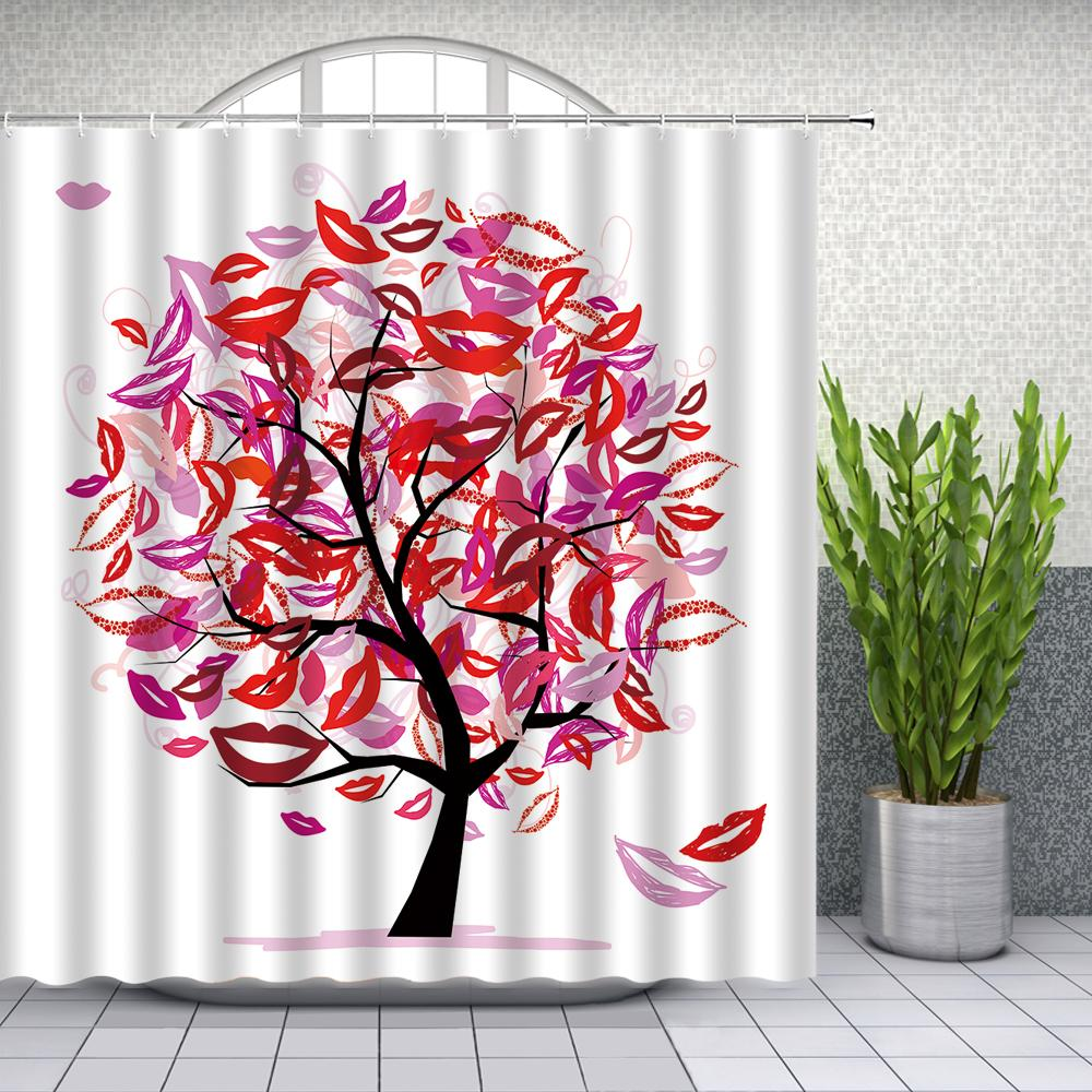 Colorful Shower Curtains Creative Design High Heels Sexy Lips Bathroom Decor Home Bathtub Polyester Fabric Curtain Set Cheap Q0121