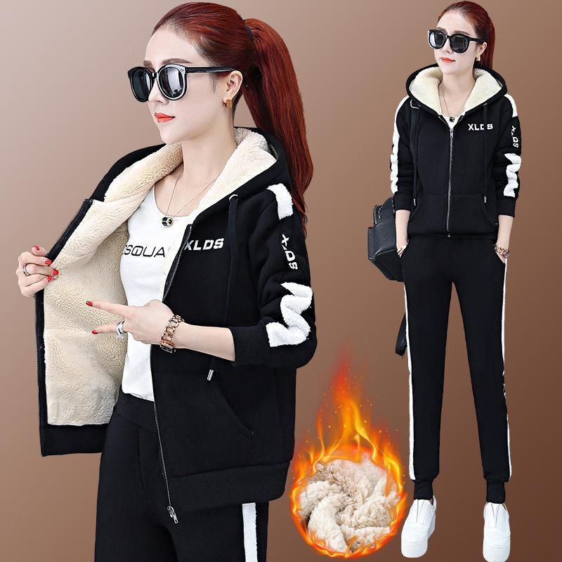 Dois peça camisola com capuz 2020 inverno novo cashmere espessado estilo ocidental lazer esportes terno fashionlis6