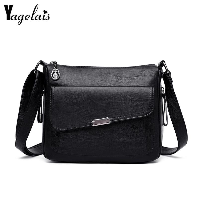 Yagelais Vintage Women Bag Fashion Boston PU Leather Women Shoulder Bag For Retro Vintage Ladies Leather Handbag