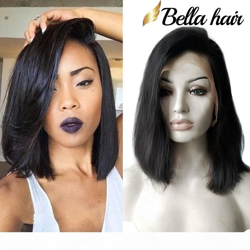 Cabelo de bella? Wigeless perucas Bob Cut Bob Humano cabelo Bob Full Lace Wig para mulheres negras Cutícula completa Curta Bob Lace Wigs Freeshipping