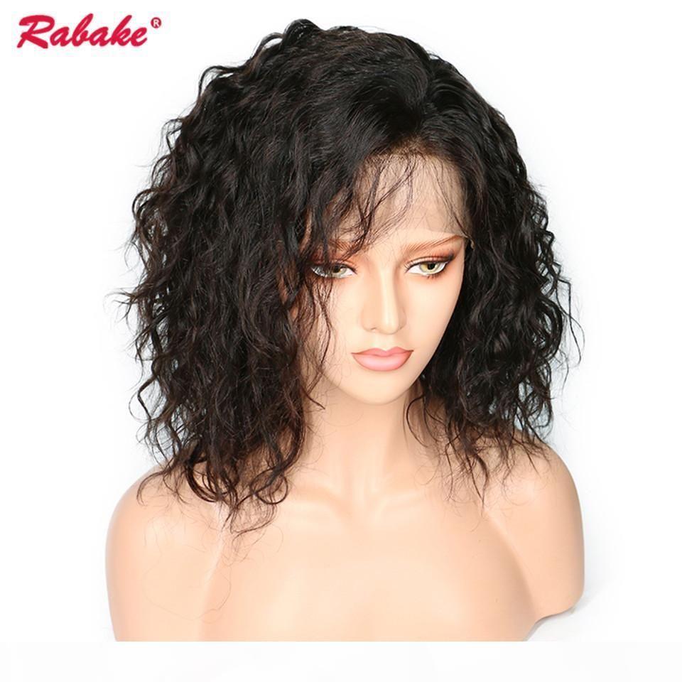 Brezilyalı Virgin Remy 4x4 İpek Üst Bob Dantel Açık Peruk Rabake Doğal Dalga Ucuz Kısa Dantel Açık Peruk Bob Bebek Saç Öncesi Mızraplı