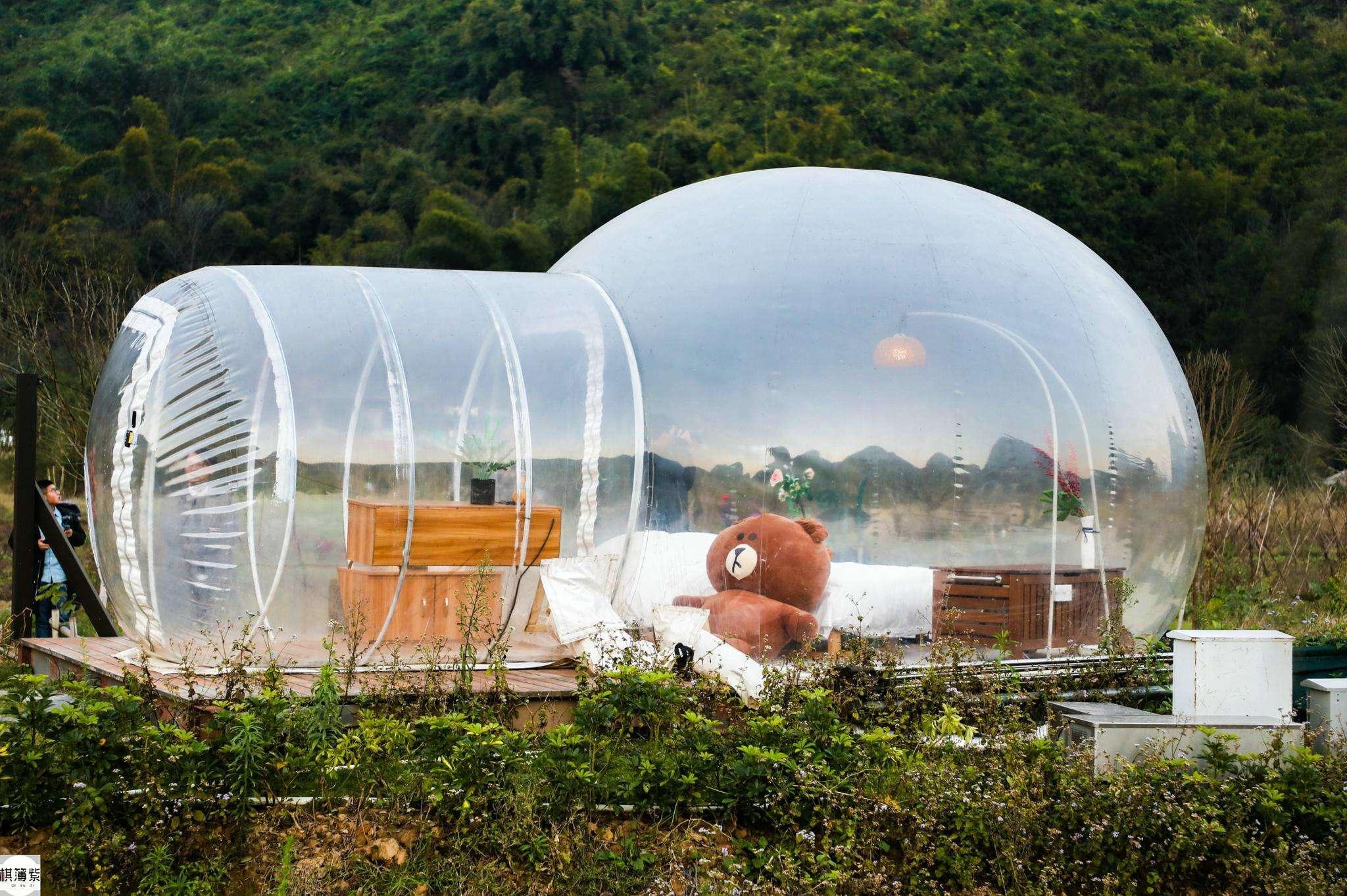 3M / 4M / 5M التخييم في الهواء الطلق نفخ فقاعة خيمة كبيرة DIY البيت الرئيسية الفناء التخييم المقصورة فقاعة الهواء لودج خيمة شفافة