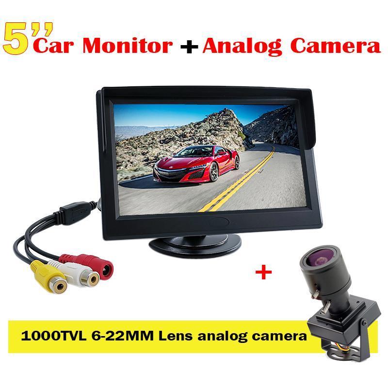 Systèmes 5inch TFT LCD Color Affichage de voiture Moniteur de voiture Kit système + 6-22mm Lens Varifocal Mini Caméra 1000TVL CCTV réglable pour