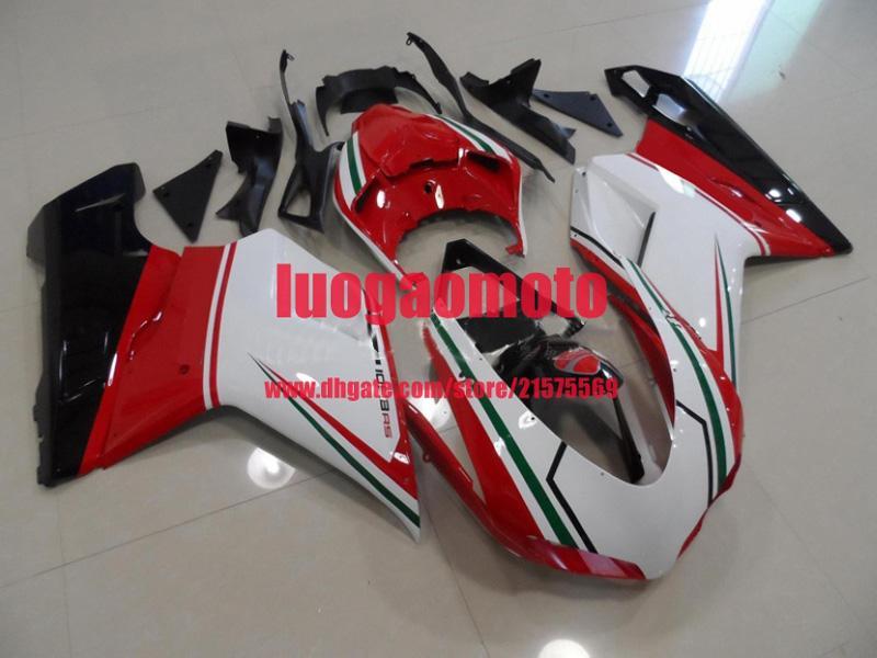 Комплект обтекателя ABS для инъекций для белого красного BLK Green Ducati 1098 848 1198 2007 200 200 200 200 201 201 2011 07 08 09 10 11 2 мотоциклетных качаль