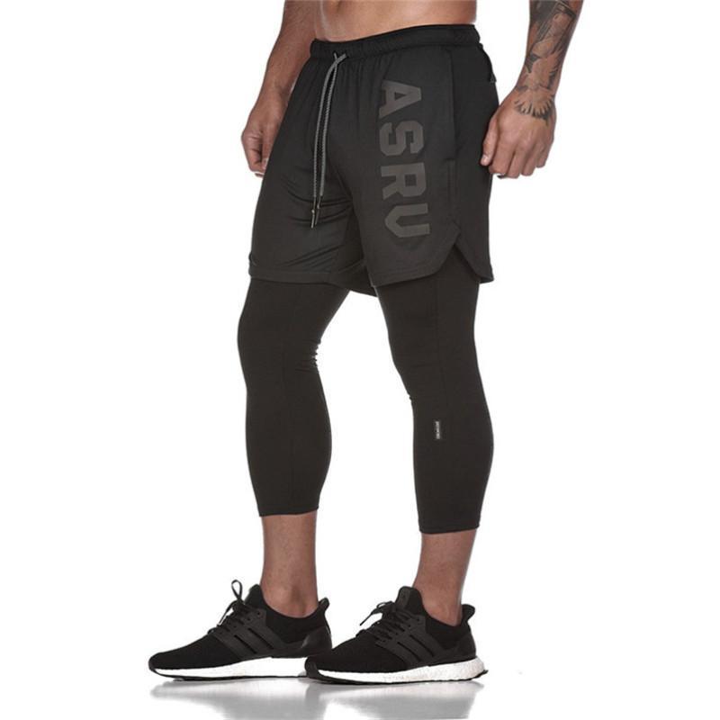 2020 Новый фальшивый 2 в 1 мужская теленка с длиной в штаны спортивный спортсмен Фитнес жесткие упругие брюки Быстрые сушильные леггинсы мужчины