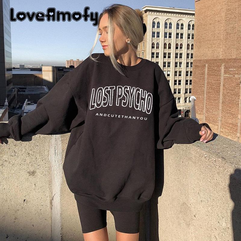 المرأة هوديس سوياتشيرتس الأزياء عارضة المرأة هوديي فضفاض طويل الأكمام إلكتروني نمط الرياضة 2021 الأوروبية والأمريكية الشارعي styl
