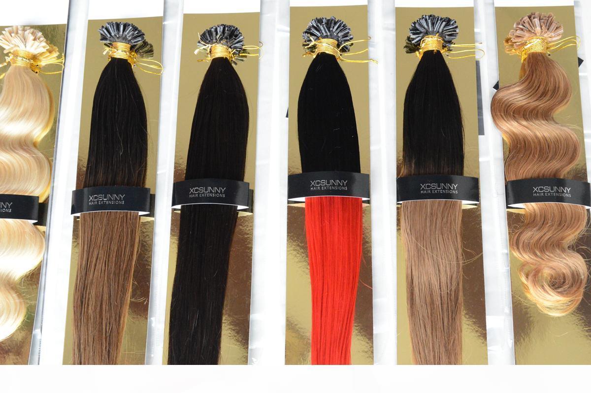 XCSUNNY 18 20 İnç Saç Uzantıları Nail İpucu Ombre Malezyalı Bakire İnsan Saç 100g = 100s Ombre Saç Uzantıları Siyah Koyu Kahverengi
