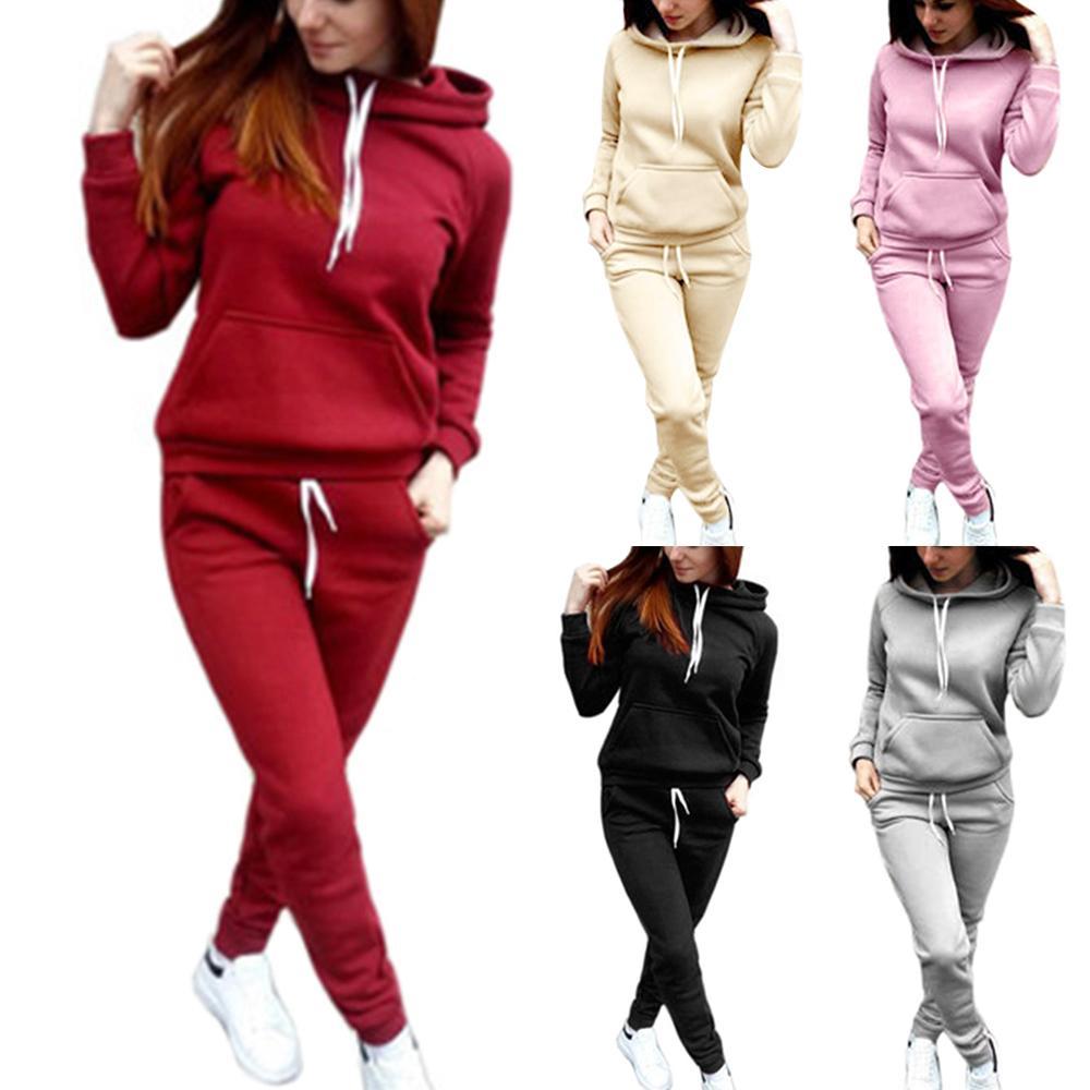 Bayan Eşofman Kadınlar Rahat Kazak Hoodie Sweatpants İki Adet Kıyafet Spor Moda Takım Elbise Kış Yeni Giyim C1103