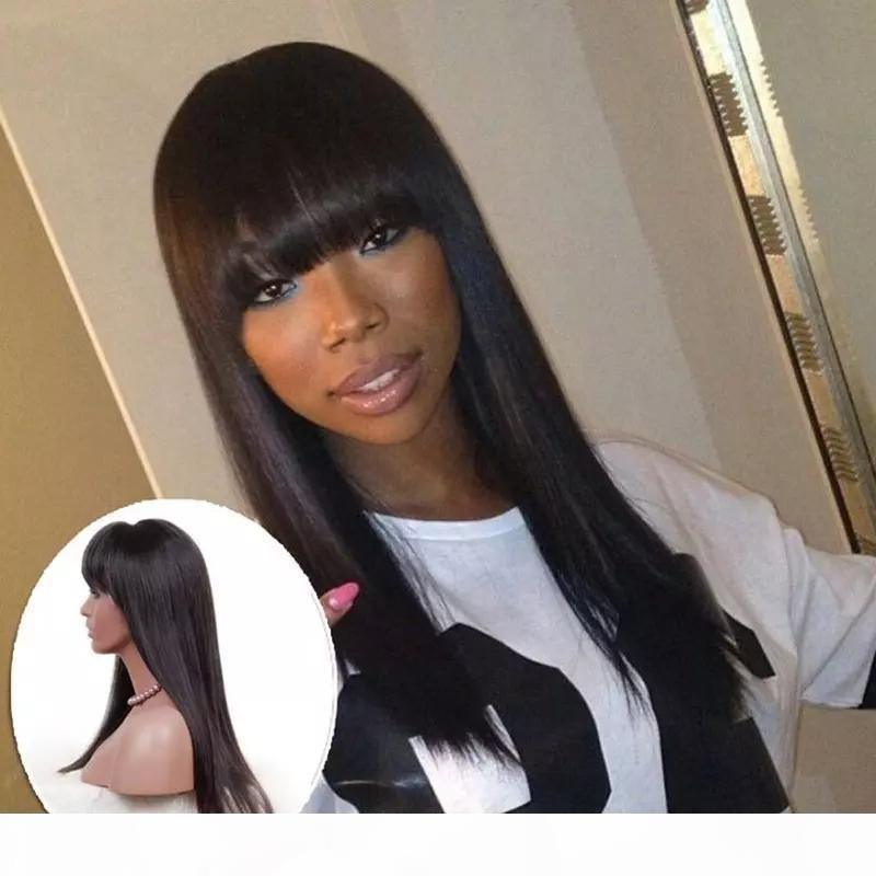 Полный шнурка человеческих волос парики с челкой Длинные черные шелковистые прямые девственницы бразильское человеческих волос фронта шнурка бесклеевой отбеленные узлы