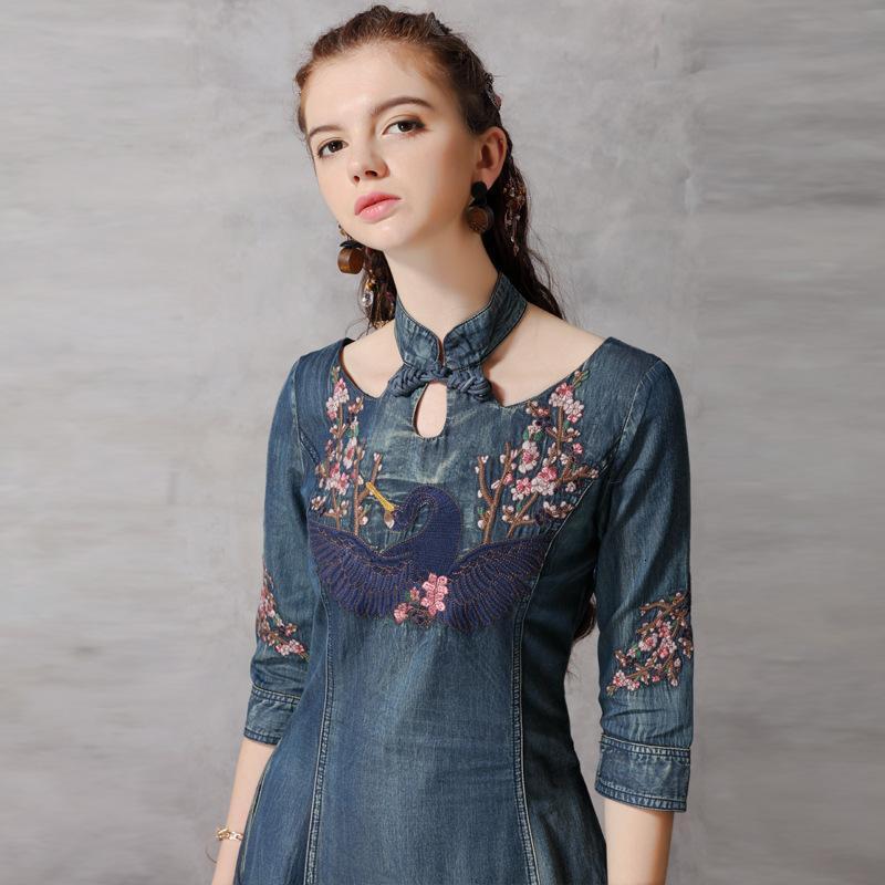 2021 automne vendredi noir nouvelle jupe denim mince cheongsam femmes robe manches milieu brodé 82137
