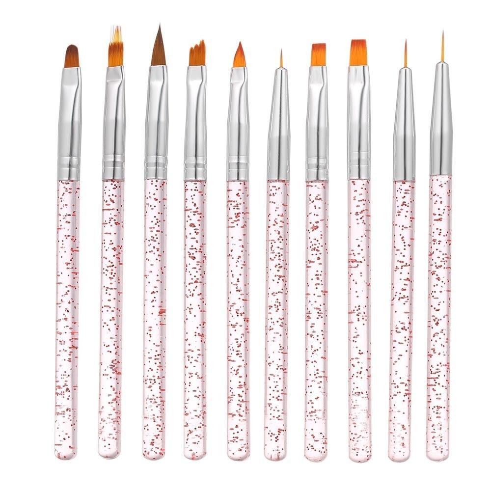 10pcs / Set Nail Art Brosse Peinture dessin de stylo Builder Plat Gradient Ligne UV Gel Gel Acrylique Conseils de cristaux Design Outils de manucure