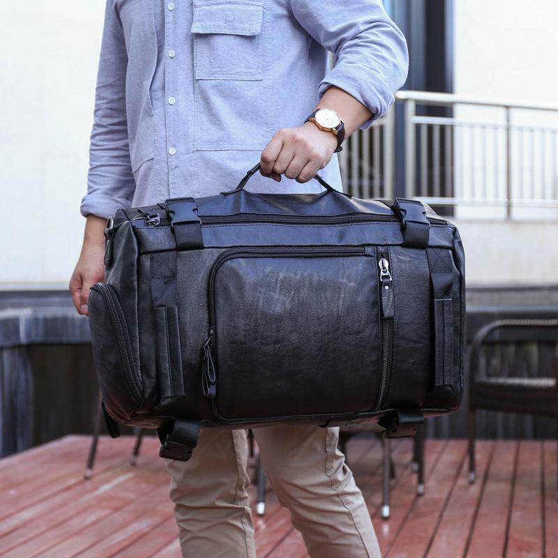 Мужская кожаная кожаная сумка для путешествий Большой Duffle независимая обувь хранение Большие фитнес сумки сумки сумки багаж рюкзак zxd41