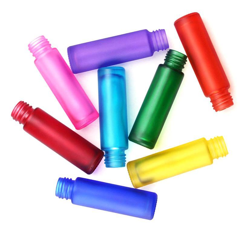 10ml portátil fosco colorido colorido rolo de vidro essencial frasco frascos de perfume frasco de rolo recarregável para mulheres