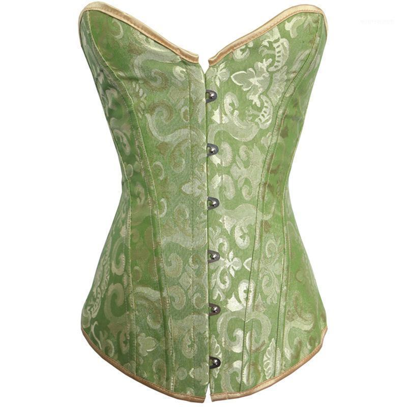 Sexy Corselet Women Bustiers Top Satin Embroidery Brocade Boned Overbust Corsets Sexy Lingerie S-XXL1