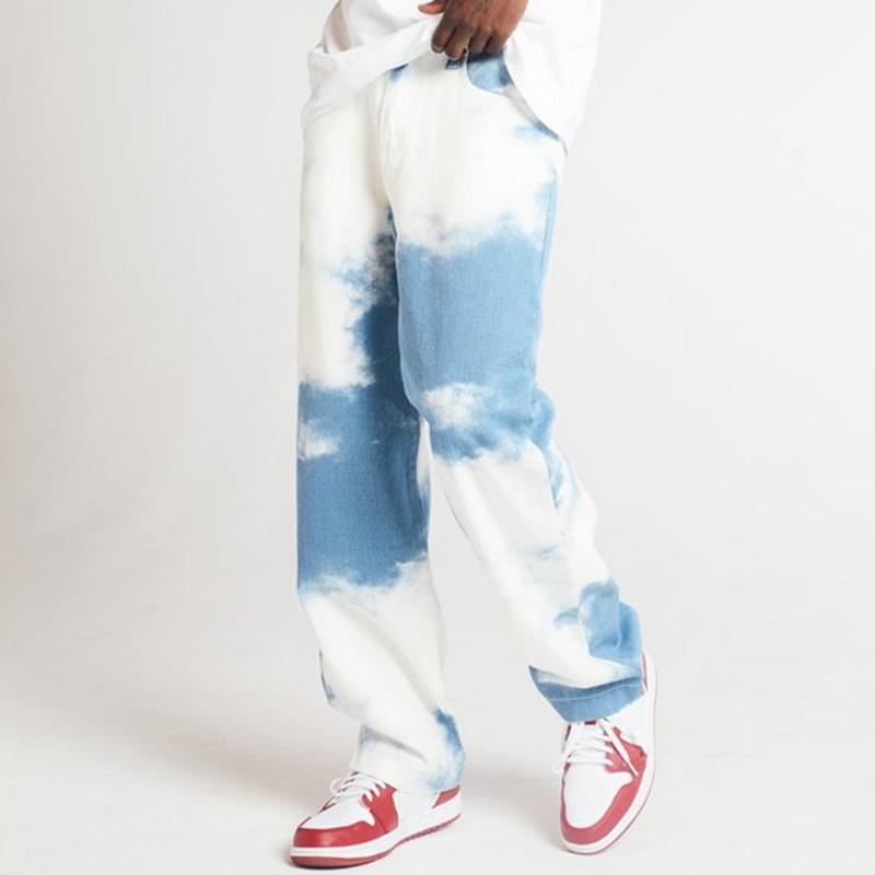 Men Casual Loose Straight Denim Pants Tie Dye Print Sky Blue Long Trouser Straight Jeans Button Full Length High Cn(origin)