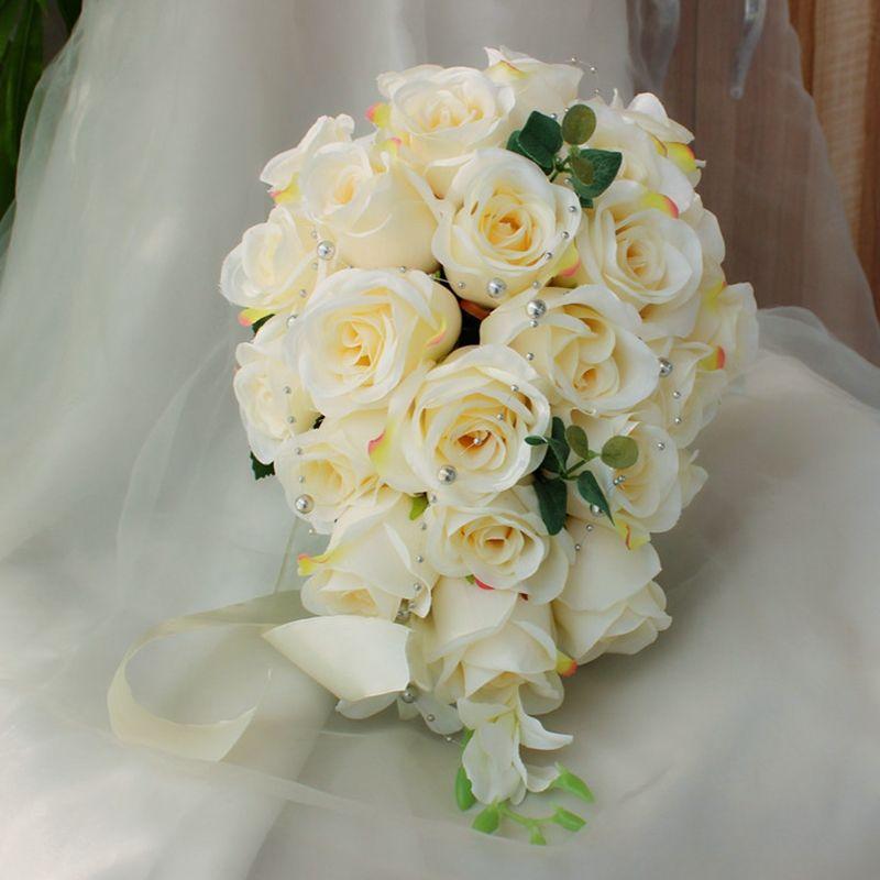 Fildişi Şelale Düğün Çiçekleri Basamaklı Gelin Buketleri Yapay Inciler Pembe Güller El Yapımı Broş Düğün Aksesuarları De Mariage