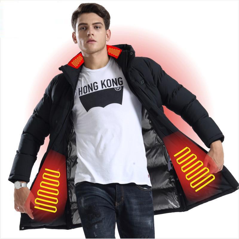 Inteligente camisa calentada Medio Largo Grueso térmica chaqueta de algodón acolchado tamaño de invierno chaleco táctico Negro climatizada al aire libre Vest +