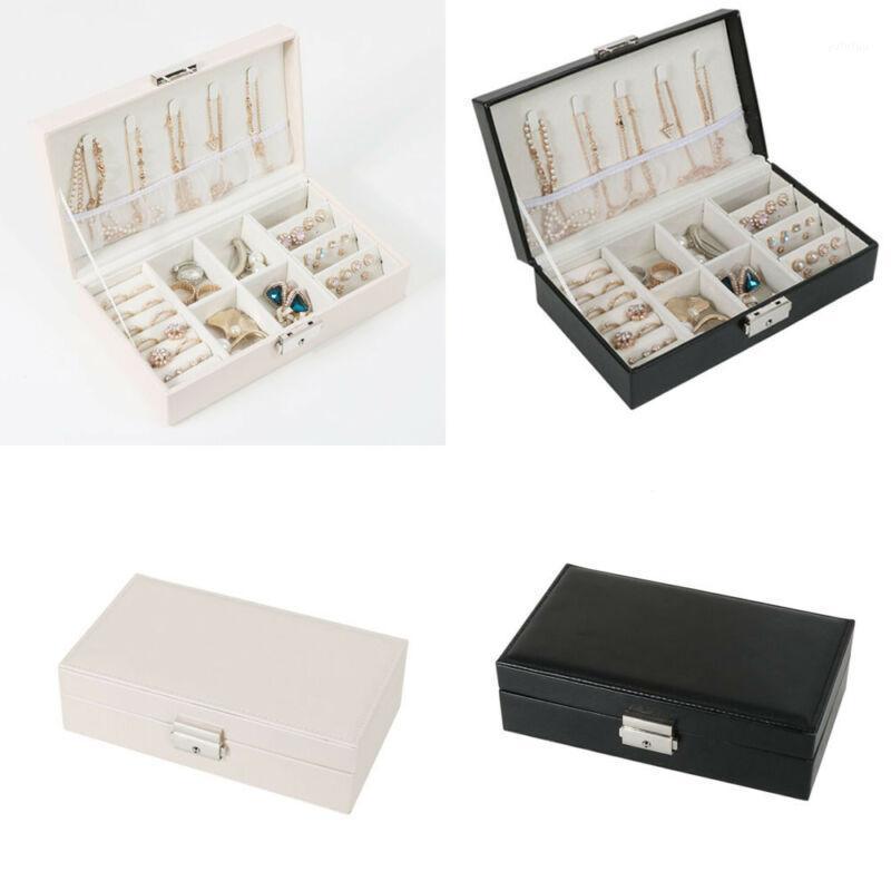 Boîte à bijoux en cuir Boîte Organisateur Étui de voyage Bague Bague Collier Storage Vente chaude Cosmetic Sacs1